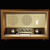Retro Radio Isolated On Black Background