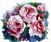 watercolor roses. A bouquet of flowers painting. Vector EPS 10.