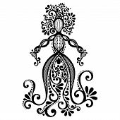 Vector Hand Drawing Silhouette of Floral Goddess