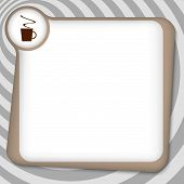 Brown Box For Entering Text With Cup Of Coffee