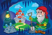 Dwarf in fairy tale cave - eps10 vector illustration.