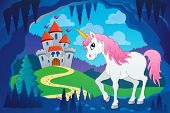 Cute unicorn in fairy tale cave - eps10 vector illustration.