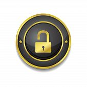 Unlock Circular Golden Black Vector Web Button Icon