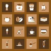 Coffe Flat Icons Set