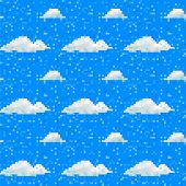 Seamless Vector Cloud Pattern Pixel Art