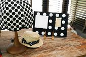 Polka Dot Vintage Lamp On A Wooden Table