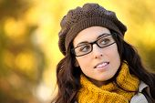 Woman Wearing Glasses Autumn Portrait