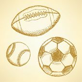 Baseball, American Football And Soccer Balls