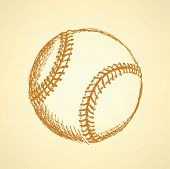 Sketch Cute Baseball Ball, Vector  Background