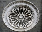 RIOMAGGIORE, ITALY - MAY 02, 2014: Rosette at the Saint John the Baptist church in Riomaggiore, Ligu