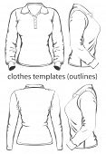 Women's polo-shirt design template (front, back and side view). Long sleeve. Outlines. Vector illustration.