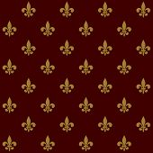 Royal Lily Fleur de Lis Seamless Pattern. Vector