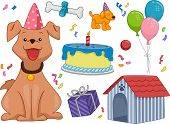 Illustration Featuring a Dog Surrounded by Different Birthday-Related Objects