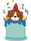 Illustration of a Cute Dog Sitting on a Birthday Cake