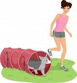 Illustration of a Girl Guiding Her Dog Through a Dog Tunnel