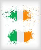 stock photo of irish flag  - Two grunge Irish ink splattered flag vectors - JPG