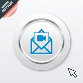 Video mail icon. Video camera symbol. Message.