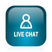 live chat blue glossy internet icon