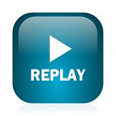 replay blue glossy internet icon