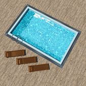 Swimming pool with wooden deck top view