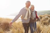 foto of dune  - Senior Couple Walking Through Sand Dunes On Winter Beach - JPG