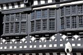 stock photo of manor  - Traditional Tudor period timber framed black and white manor house in Stockport - JPG