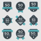 stock photo of 50th  - Vector set of anniversary banners - JPG