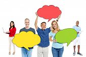 Diverse People with Speech Bubbles and Communication Concepts