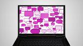 Laptop Monitor Display Conversation Pink
