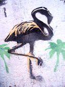 grafitti stencil flamingo
