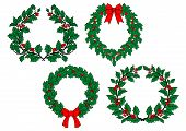 Christmas holly garlands set