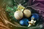Beautiful Christmas balls on satin cloth