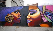 Mural art at Prospect Heights neighborhood in Brooklyn