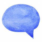 Blue watercolor speech bubble