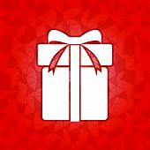 Gift Box On Red Dazzled Triangle Background