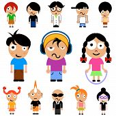 picture of cartoon character  - vector set of cartoon style kid characters - JPG
