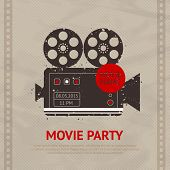 picture of outdated  - Retro movie cinema production poster with vintage camera device vector illustration - JPG