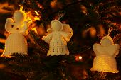 pic of christmas angel  - Knitted Christmas angels on Christmas lights background - JPG