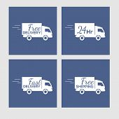 Set of icons with delivery car on square background