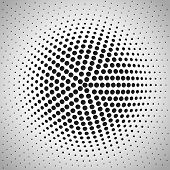 Radial halftone background.
