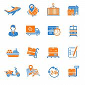 Logistic icons set orange
