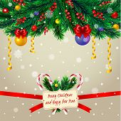 Christmas tree branches with greeting