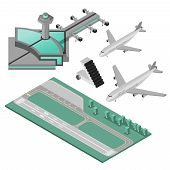 image of stairway  - Airport stairway airplane and runway decorative icons 3d isometric set isolated vector illustration - JPG