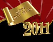 New year 2011 red gold black background
