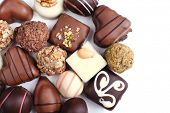 Chocolate sweet collection isolated on white background
