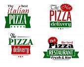 Italian pizza restaurant logo, label, flyer set