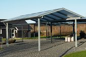 picture of garage  - Modern carport car garage parking made from black metal and glass - JPG