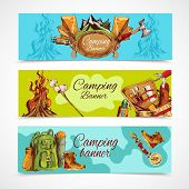pic of boot camp  - Camping sketch banner horizontal set with backpack hiking boots bonfire isolated vector illustration - JPG