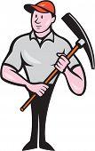 Construction Worker Holding Pickaxe Cartoon