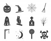 Silhouette halloween icon pack  with bat, pumpkin, witch, ghost, hat